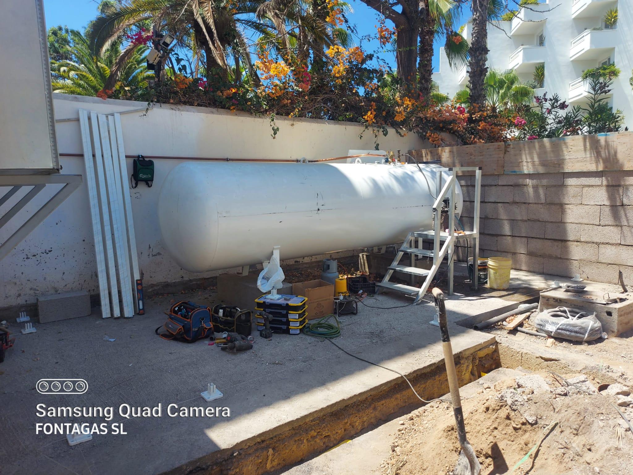 Proceso de instalación de un depósito de gas propano